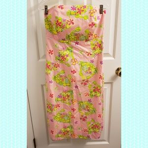 Lilly Pulitzer Crab Print Strapless Dress